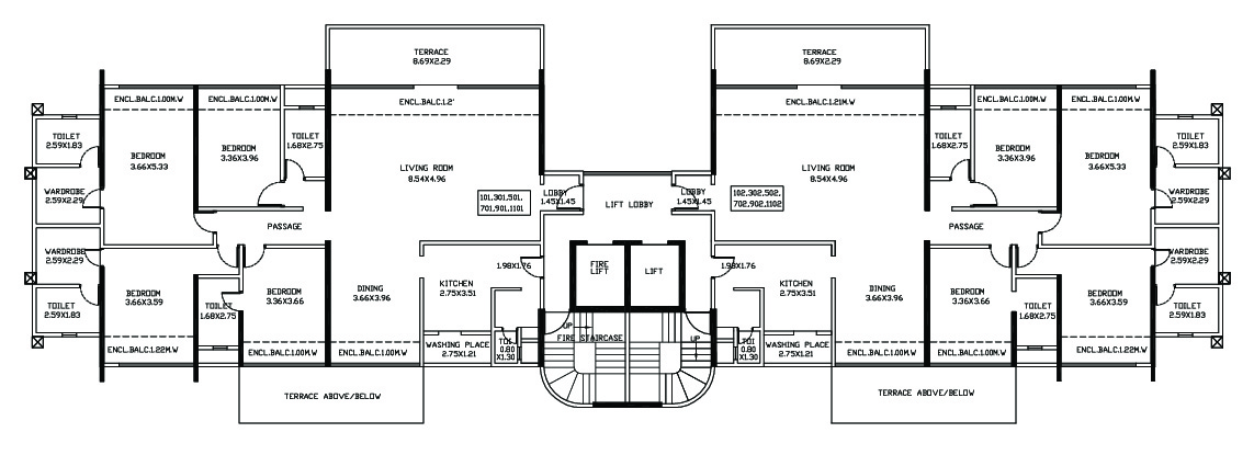 4 BHK Magarpatta ODD FLOOR PLAN - ROYAL 1 & 2 (D1 & D2)